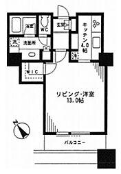 東京ツインパークス レフトウイング 22階ワンルームの間取り