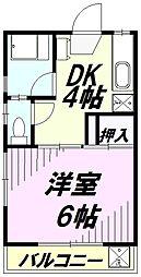 東京都八王子市清川町の賃貸アパートの間取り