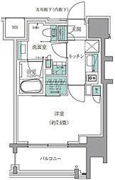 ザ・パークハウスアーバンス白金 7階1Kの間取り