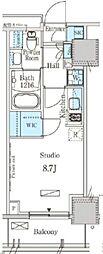 東武東上線 下赤塚駅 徒歩1分の賃貸マンション 2階ワンルームの間取り