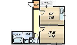 大阪府堺市堺区新在家町東3丁の賃貸マンションの間取り