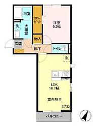 東武野田線 鎌ヶ谷駅 徒歩9分の賃貸アパート 3階1LDKの間取り