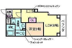 大阪府池田市栄町の賃貸マンションの間取り