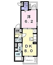 JR東北本線 東大宮駅 徒歩21分の賃貸アパート 2階1DKの間取り