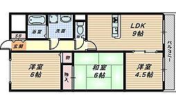 大阪府堺市北区北花田町1丁の賃貸マンションの間取り