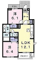 愛知県豊田市寺部町1丁目の賃貸アパートの間取り