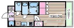 おおさか東線 JR淡路駅 徒歩6分の賃貸マンション 2階1Kの間取り