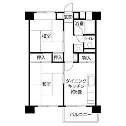 JKK東京 新田 6階2DKの間取り