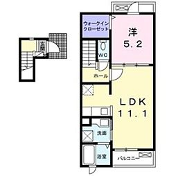 愛知環状鉄道 北岡崎駅 3.3kmの賃貸アパート 2階1LDKの間取り