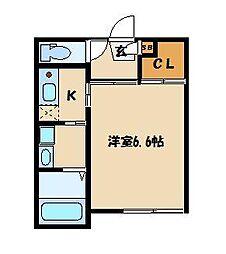 パルゼ武蔵浦和 1階1Kの間取り