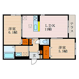 滋賀県彦根市長曽根南町の賃貸マンションの間取り