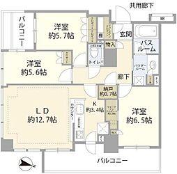 JR横須賀線 武蔵小杉駅 徒歩2分の賃貸マンション 14階3LDKの間取り