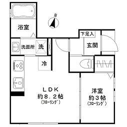 東京メトロ日比谷線 六本木駅 徒歩7分の賃貸アパート 1階1LDKの間取り