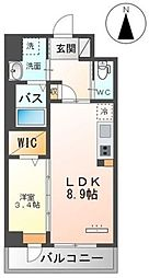 Grandeur Hakata~グランドゥールハカタ~ 2階1LDKの間取り