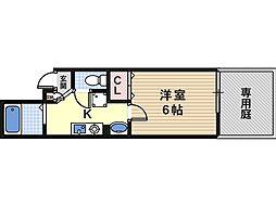 JR阪和線 杉本町駅 徒歩10分の賃貸マンション 1階1Kの間取り