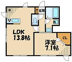 京王相模原線 稲城駅 徒歩10分の賃貸アパート 1階1LDKの間取り