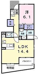 南海高野線 萩原天神駅 徒歩18分の賃貸アパート 1階1LDKの間取り
