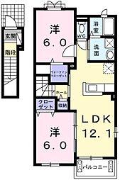 東京都青梅市友田町5丁目の賃貸アパートの間取り