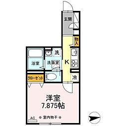 西武新宿線 田無駅 徒歩8分の賃貸アパート 3階1Kの間取り