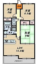 大阪府堺市北区常磐町1丁の賃貸マンションの間取り