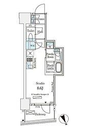 東京メトロ銀座線 表参道駅 徒歩12分の賃貸マンション 9階ワンルームの間取り