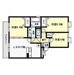 福岡県福岡市西区石丸1丁目の賃貸アパートの間取り