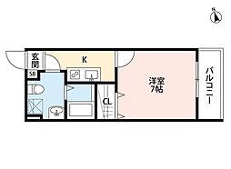 新京成電鉄 上本郷駅 徒歩11分の賃貸アパート 2階1Kの間取り