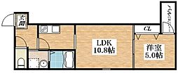 JR関西本線 平野駅 徒歩8分の賃貸アパート 1階1LDKの間取り