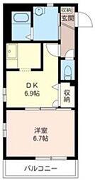 JR京浜東北・根岸線 川口駅 徒歩15分の賃貸マンション 3階1DKの間取り