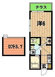 キューブハウスA棟[1階]の間取り