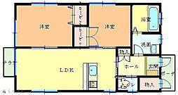 フルールB棟 1階2LDKの間取り