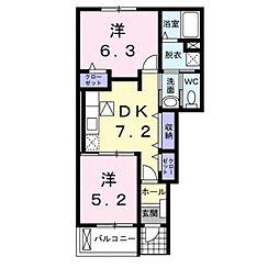 愛知県田原市豊島町榎沢の賃貸アパートの間取り