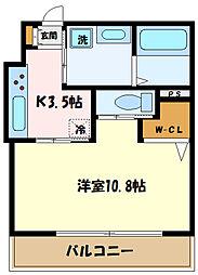 JR南武線 中野島駅 徒歩12分の賃貸アパート 1階1Kの間取り
