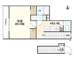 東京メトロ丸ノ内線 四谷三丁目駅 徒歩5分の賃貸マンション 2階1Kの間取り