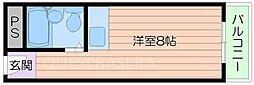 阪急千里線 関大前駅 徒歩9分の賃貸マンション 4階ワンルームの間取り