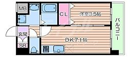 阪急京都本線 正雀駅 徒歩3分の賃貸マンション 8階1DKの間取り