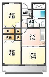 愛知県岡崎市牧御堂町字水洗の賃貸マンションの間取り