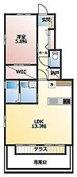 Confort・Espace(コンフォート・エスパス) 1階1LDKの間取り