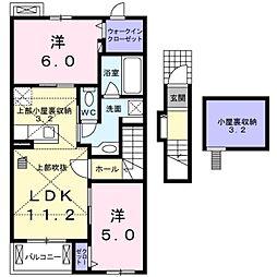 東京都青梅市友田町3丁目の賃貸アパートの間取り