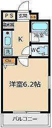 Ecolo Cube洗足 2階1Kの間取り