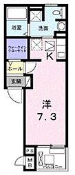 東武東上線 東武霞ヶ関駅 徒歩11分の賃貸アパート 2階ワンルームの間取り