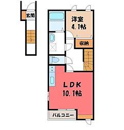 夢風花 2階1LDKの間取り