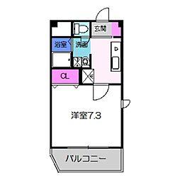 南海高野線 初芝駅 徒歩2分の賃貸アパート 4階1Kの間取り