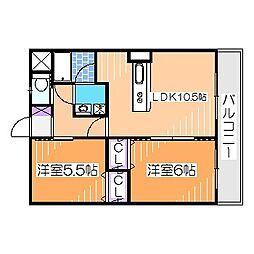 南海高野線 萩原天神駅 徒歩7分の賃貸マンション 1階2LDKの間取り