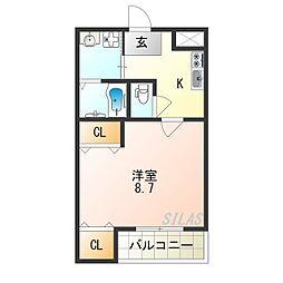 Osaka Metro四つ橋線 北加賀屋駅 徒歩4分の賃貸アパート 1階1Kの間取り
