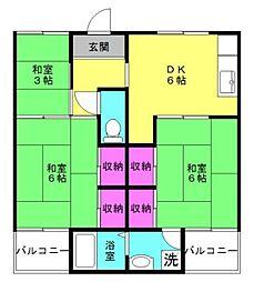 ビレッジハウス東二見[1-201号室]の間取り