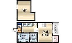 大阪府堺市堺区新在家町西3丁の賃貸アパートの間取り