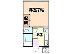 神奈川県横浜市神奈川区旭ケ丘の賃貸アパートの間取り