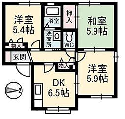 オリーブテラス B[2階]の間取り