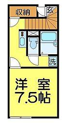 東武東上線 東武霞ヶ関駅 徒歩14分の賃貸アパート 2階1Kの間取り